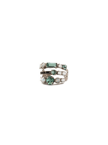 Triple Threat Ring in Antique Silver-tone Game Day Green
