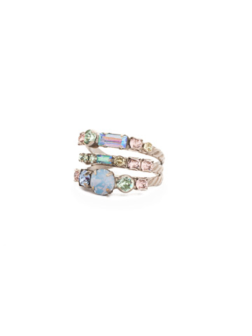 Triple Threat Ring in Antique Silver-tone Pastel Prep