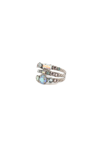 Triple Threat Ring in Antique Silver-tone Rainbow Quartz