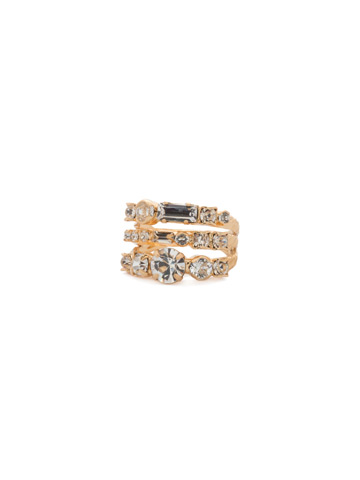 Triple Threat Ring in Bright Gold-tone Crystal