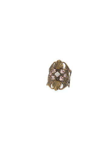 OOAK Ring in Antique Gold-tone Apricot Agate
