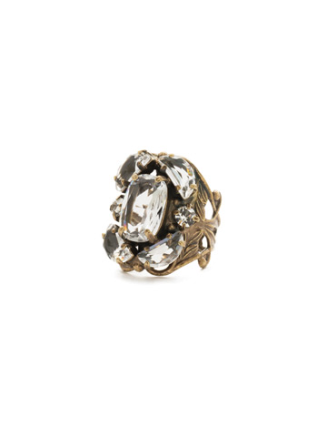 Cutting Edge Statement Ring in Antique Gold-tone Crystal