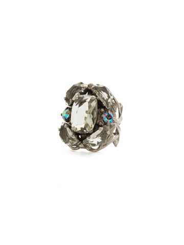Cutting Edge Statement Ring in Antique Silver-tone Crystal Rock