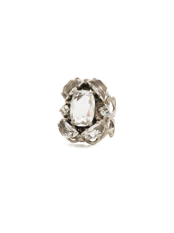 Cutting Edge Statement Ring in Antique Silver-tone Crystal