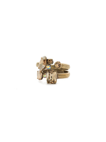 Double Up Stackable Ring Set in Antique Gold-tone Neutral Territory