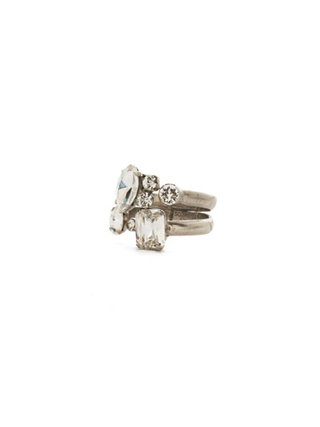 Double Up Stackable Ring Set in Antique Silver-tone Crystal