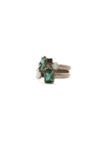 Double Up Stackable Ring Set in Antique Silver-tone Game Day Green
