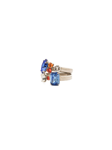 Double Up Stackable Ring Set in Antique Silver-tone Orange Crush