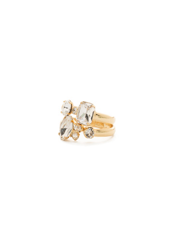 Double Up Stackable Ring Set in Bright Gold-tone Crystal