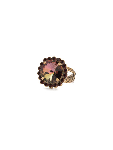 Haute Halo Ring in Antique Gold-tone Mahogany