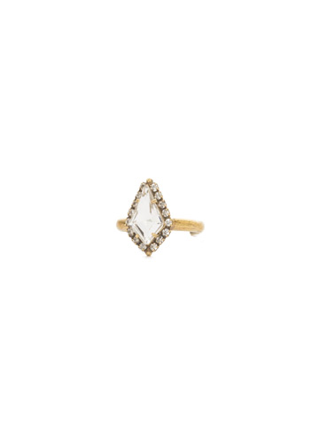 Dazzling Diamond Ring in Antique Gold-tone Crystal