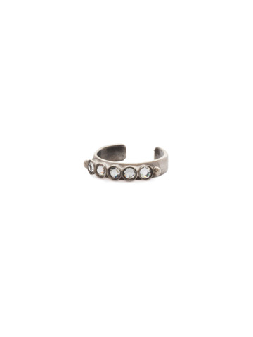 Dotted Line Ring in Antique Silver-tone Crystal