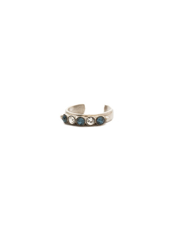 Dotted Line Ring in Antique Silver-tone Glory Blue