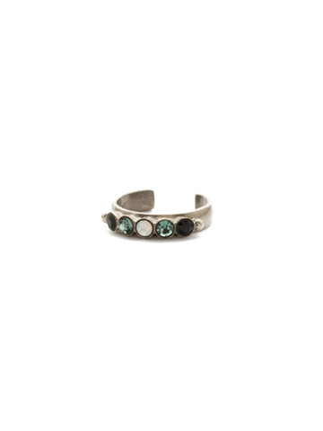 Dotted Line Ring in Antique Silver-tone Game Day Green