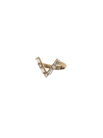 Crystal Chevron Ring in Antique Gold-tone Crystal