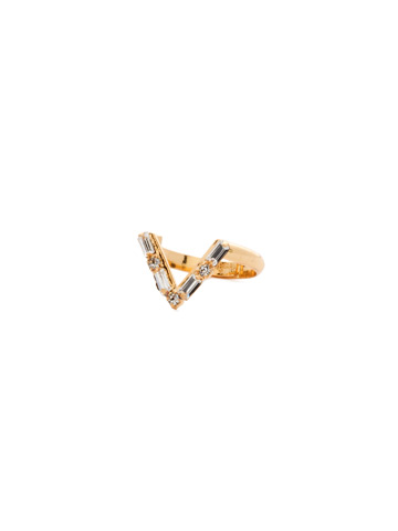 Crystal Chevron Ring in Bright Gold-tone Crystal