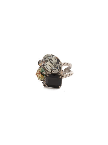 Emerald Cluster Ring in Antique Silver-tone Black Onyx