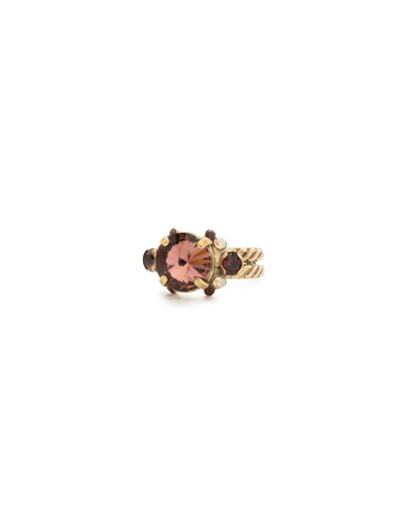 Crowning Around Ring in Antique Gold-tone Mighty Maroon