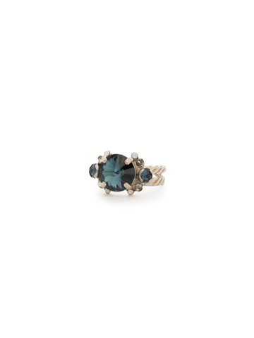 Crowning Around Ring in Antique Silver-tone Glory Blue