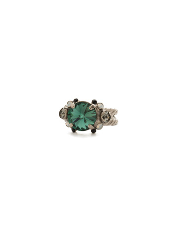 Crowning Around Ring in Antique Silver-tone Game Day Green