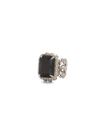 Protea Ring in Antique Silver-tone Black Onyx