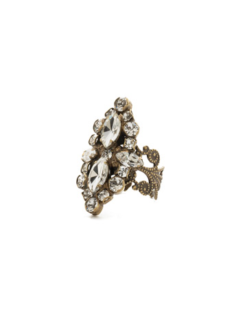 Edelweiss Ring in Antique Gold-tone Crystal