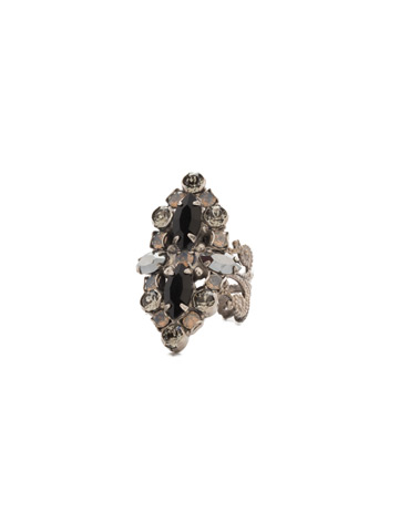 Edelweiss Ring in Antique Silver-tone Black Onyx