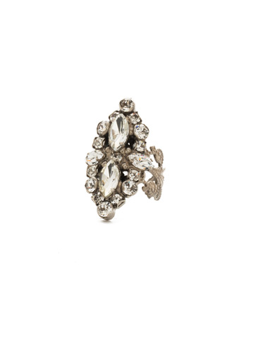 Edelweiss Ring in Antique Silver-tone Crystal