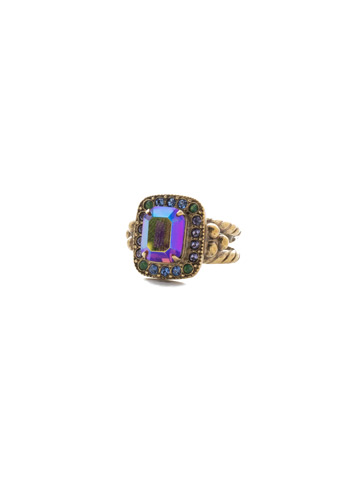 Opulent Octagon Ring in Antique Gold-tone Game of Jewel Tones