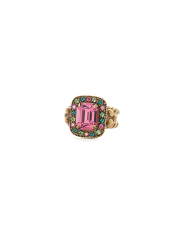 Opulent Octagon Ring in Antique Gold-tone Happy Birthday
