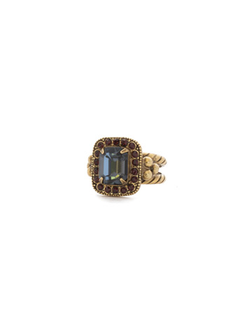 Opulent Octagon Ring in Antique Gold-tone Mahogany