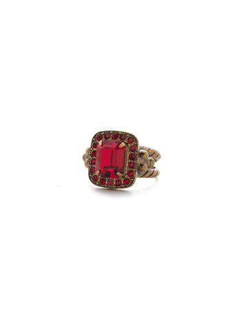 Opulent Octagon Ring in Antique Gold-tone Sansa Red