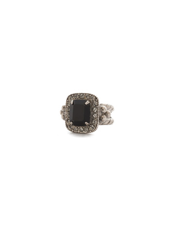 Opulent Octagon Ring in Antique Silver-tone Black Onyx