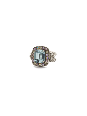 Opulent Octagon Ring in Antique Silver-tone Lilac Pastel