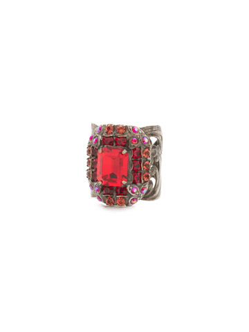Lycoris Ring in Antique Silver-tone Red Ruby