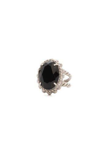 Camellia Ring in Antique Silver-tone Black Onyx