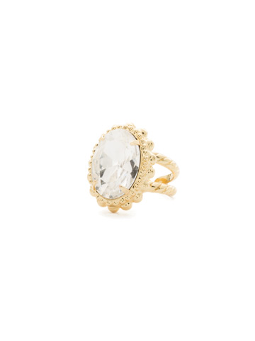 Camellia Ring in Bright Gold-tone Crystal