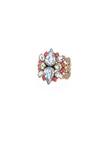 Alstromeria Ring in Antique Gold-tone Bohemian Bright