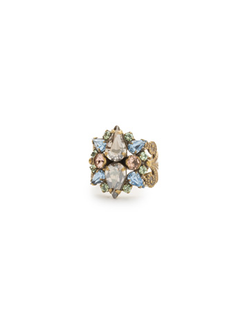 Alstromeria Ring in Antique Gold-tone Washed Waterfront