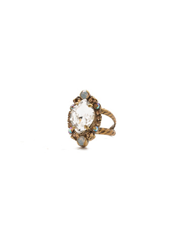 Eustoma Ring in Antique Gold-tone Rocky Beach