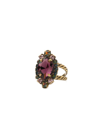 Eustoma Ring in Antique Gold-tone Royal Plum