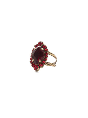 Eustoma Ring in Antique Gold-tone Sansa Red
