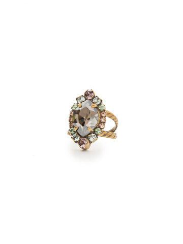 Eustoma Ring in Antique Gold-tone Washed Waterfront