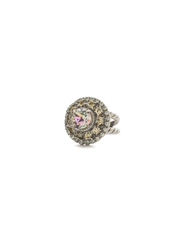 Sunflower Ring in Antique Silver-tone Lilac Pastel