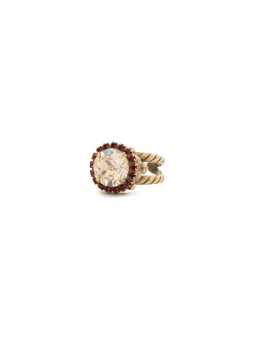 Embellished Rivoli Ring in Antique Gold-tone Go Garnet