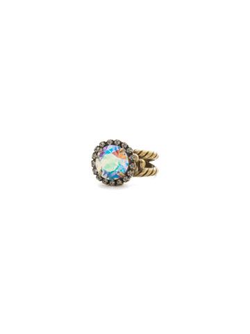 Embellished Rivoli Ring in Antique Gold-tone Snowflake