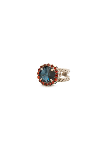 Embellished Rivoli Ring in Antique Silver-tone Battle Blue