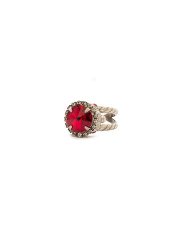 Embellished Rivoli Ring in Antique Silver-tone Crimson Pride