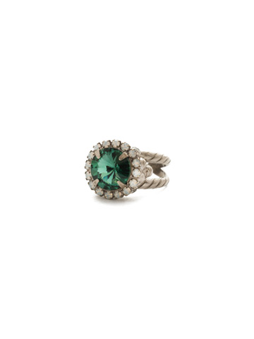 Embellished Rivoli Ring in Antique Silver-tone Game Day Green