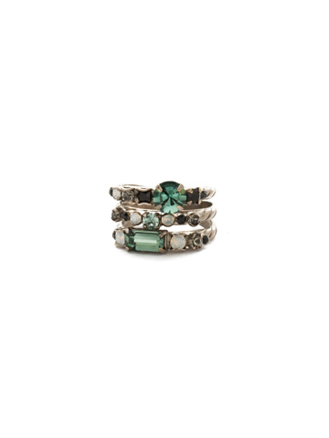 Triple Stack Ring in Antique Silver-tone Game Day Green